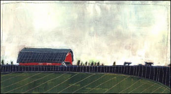 Acrylic Painting of a Farm Landscape